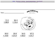 Decimal Addition to the Tenths Place Worksheet