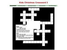 Kids Christmas Crossword 3 Worksheet