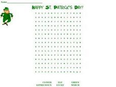 Word Search:  St. Patrick's Day Worksheet