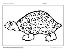 Valentine Turtle Coloring Page Worksheet