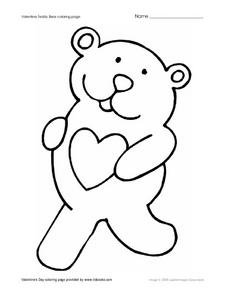 Valentine Teddy Bear Coloring Page Worksheet