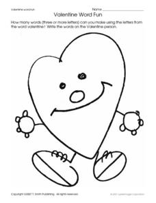 Valentine Word Fun Worksheet