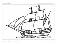 Mayflower Coloring Page Worksheet