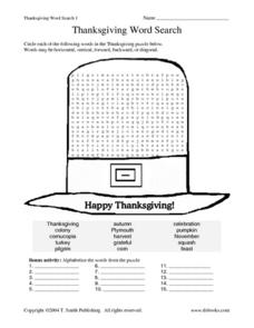Thanksgiving Word Search 1 Worksheet