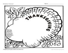 Thanksgiving Turkey Coloring Page Worksheet