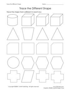 Trace the Different Shape Worksheet