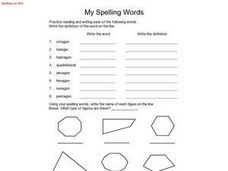My Spelling Words -- Spelling List #40 Worksheet