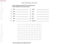 Spelling Words, Word Search Puzzle, and Alphabetical Order Worksheet Worksheet