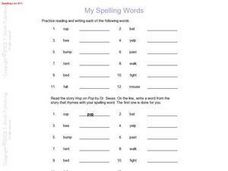 My Spelling Words:  Spelling List #17 Worksheet