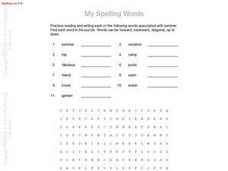 My Spelling Words-- Spelling List #16 Worksheet