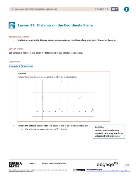 Distance on the Coordinate Plane Lesson Plan