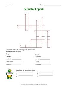 Scrambled Sports Crossword Puzzle and Alphabetizing Worksheet