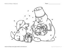 Snowman and Puppy Coloring Page Worksheet