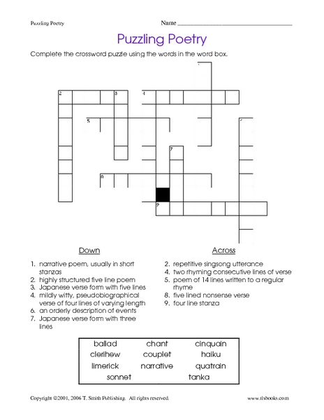 Puzzling Poetry 6th - 7th Grade Worksheet | Lesson Planet