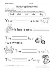Reading Readiness Worksheet 2 Worksheet