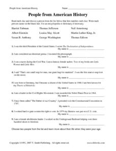 People From American History 4th Grade Worksheet | Lesson Planet