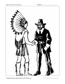 Thanksgiving Indian and Pilgrim Worksheet