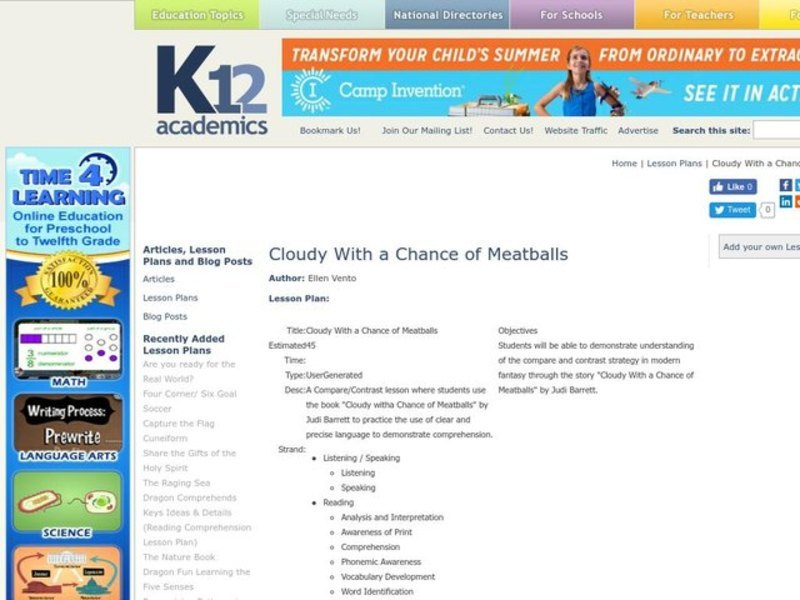 Cloudy With a Chance of Meatballs Lesson Plan