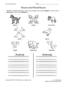 nouns and plural nouns animals worksheet for 2nd grade lesson planet. Black Bedroom Furniture Sets. Home Design Ideas