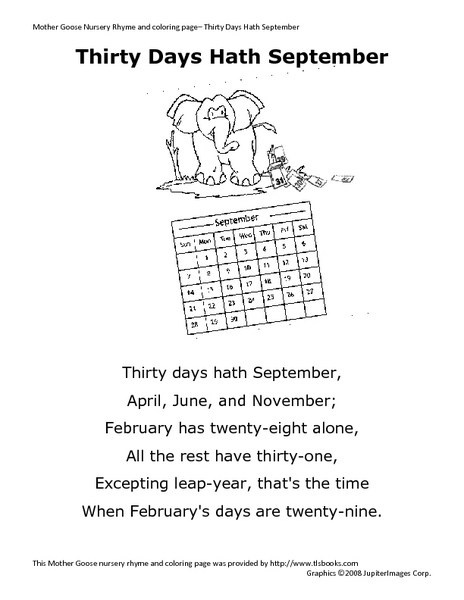 picture about Thirty Days Hath September Poem Printable identify 30 Times Hath September\
