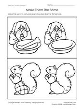 Make Them the Same- Drawing Comparisons- Dog and Squirrel Worksheet