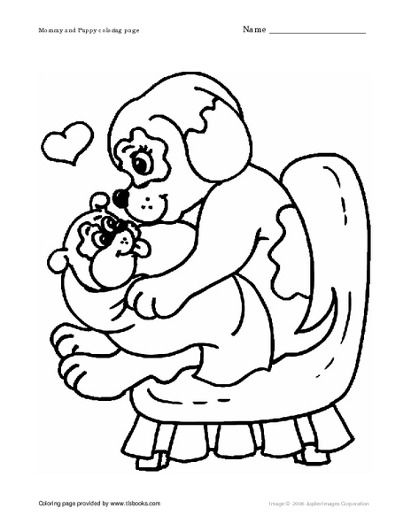 Mother and Baby Puppy Coloring Worksheet for Pre-K