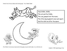 Hey, Diddle Diddle Nursery Rhyme and Coloring Page Worksheet