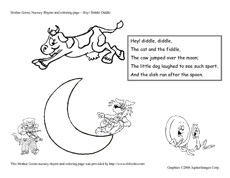 Hey, Diddle Diddle Nursery Rhyme and Coloring Page Pre-K - 1st ...