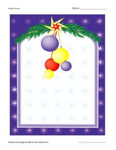 Christmas Coloring Frame Worksheet