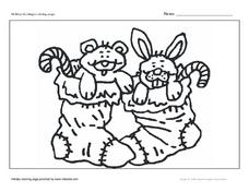 Holiday Stockings Coloring Page- Christmas Stockings Worksheet