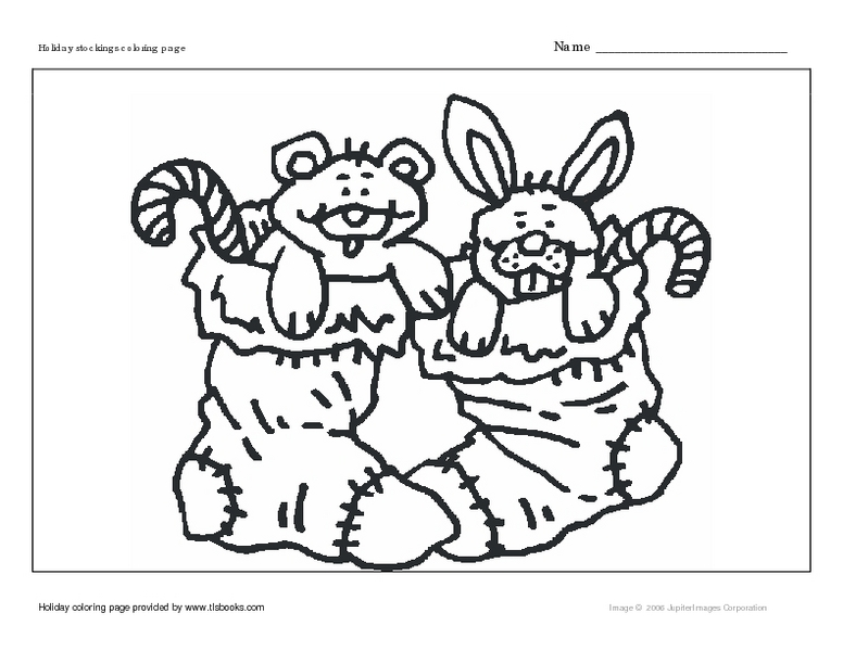 Holiday Stockings Coloring Page- Christmas Stockings