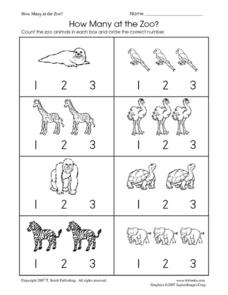 How Many at the Zoo? Counting 1,2,3 Worksheet
