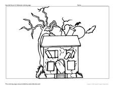 Haunted House #3 Halloween Coloring Page Worksheet
