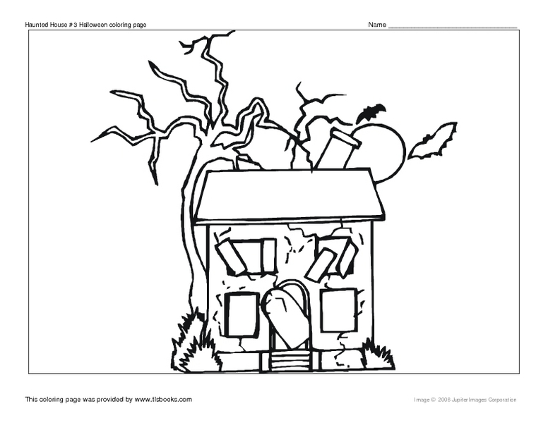 Haunted House #3 Halloween Coloring Page Worksheet for 2nd