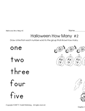 Halloween How Many #2 (Word Names for Numbers) Worksheet