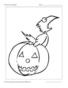 Jack O'Lantern and Crow Coloring Page Worksheet