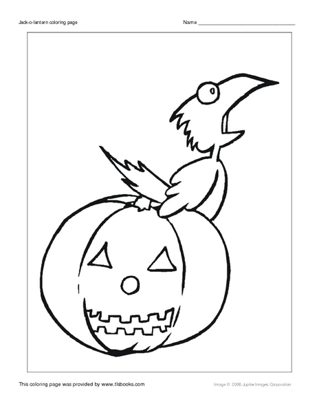 Jack O'Lantern and Crow Coloring Page Worksheet for 1st
