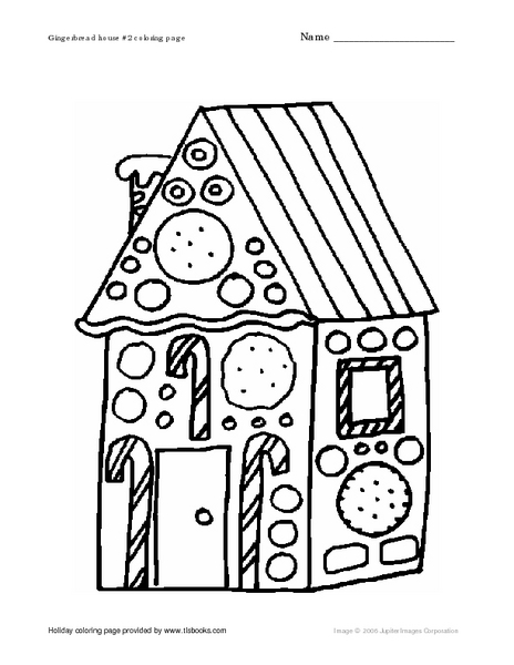 Gingerbread House 2 Coloring Page Worksheet for