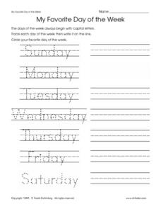 My Favorite Day of the Week Worksheet