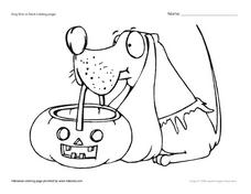 Dog Trick or Treat Coloring Page Worksheet