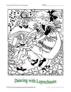Dancing With Leprechauns Coloring Page Worksheet