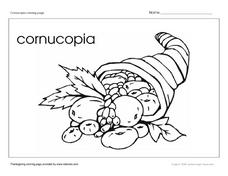 Cornucopia Coloring Page Worksheet