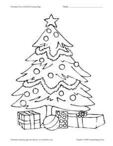 Christmas Tree With Gifts Coloring Page Worksheet