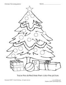 Christmas Tree Tracing Practice Worksheet