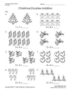 Christmas Doubles Addition Worksheet
