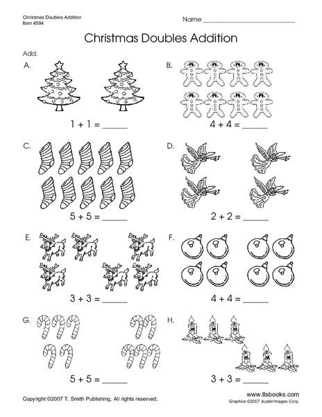 Christmas Doubles Addition Worksheet for Kindergarten