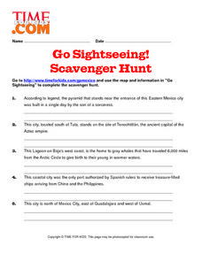 Go Sightseeing! Scavenger Hunt Lesson Plan