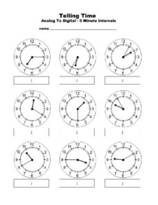 Telling Time: Analog to Digital-- 5 Minute Intervals Worksheet