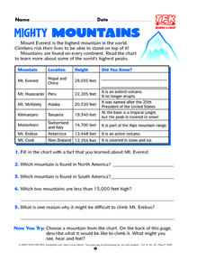 Mighty Mountains Lesson Plan