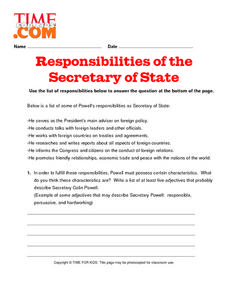 Responsibilities of the Secretary of State Lesson Plan